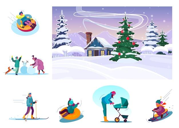 Conjunto de pessoas desfrutando férias de inverno Vetor grátis
