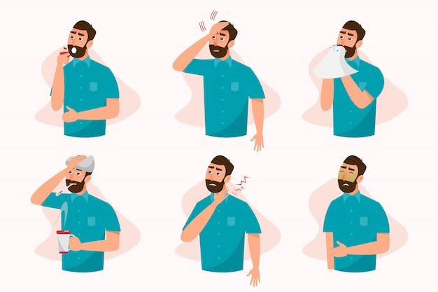 Conjunto de pessoas doentes que se sentem mal, tosse, dor de garganta, febre, alergia e dor de cabeça Vetor Premium