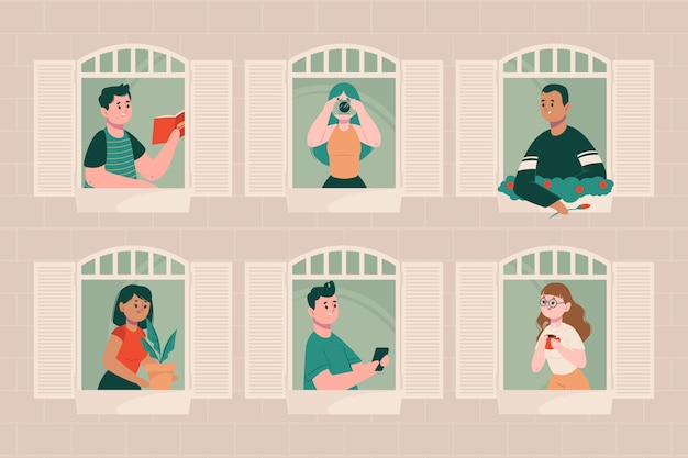 Conjunto de pessoas em suas varandas Vetor grátis