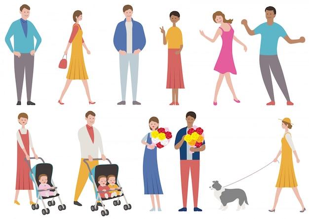 Conjunto de pessoas em vários estilos de vida isolado. ilustração em vetor plana. Vetor Premium