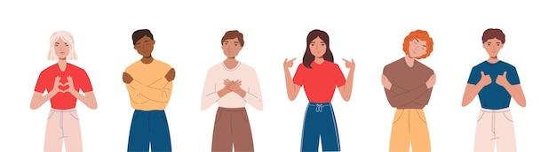 Conjunto de pessoas expressando emoções positivas, sorrindo, fazendo gestos com as mãos e se abraçando. conceito de amor próprio e autoaceitação. ilustração de desenho animado flst Vetor Premium