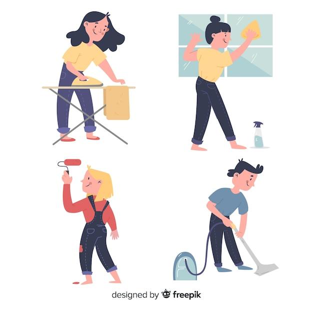 Conjunto de pessoas ilustradas fazendo trabalhos domésticos Vetor grátis