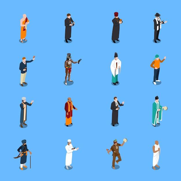 Conjunto de pessoas isométrica religião s Vetor grátis