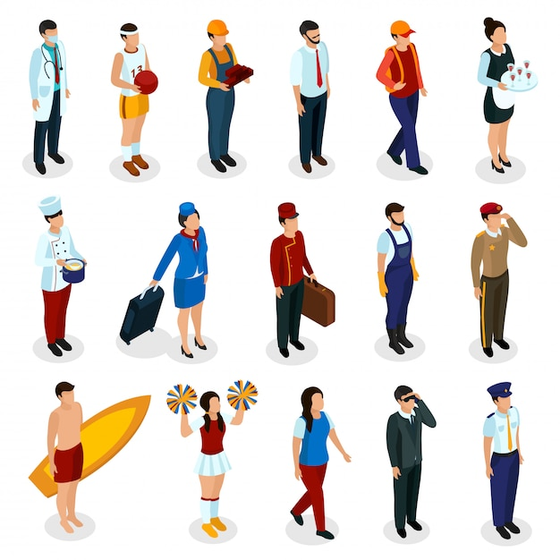 Conjunto de pessoas isométricas de várias profissões de uniforme com acessórios isolados Vetor grátis