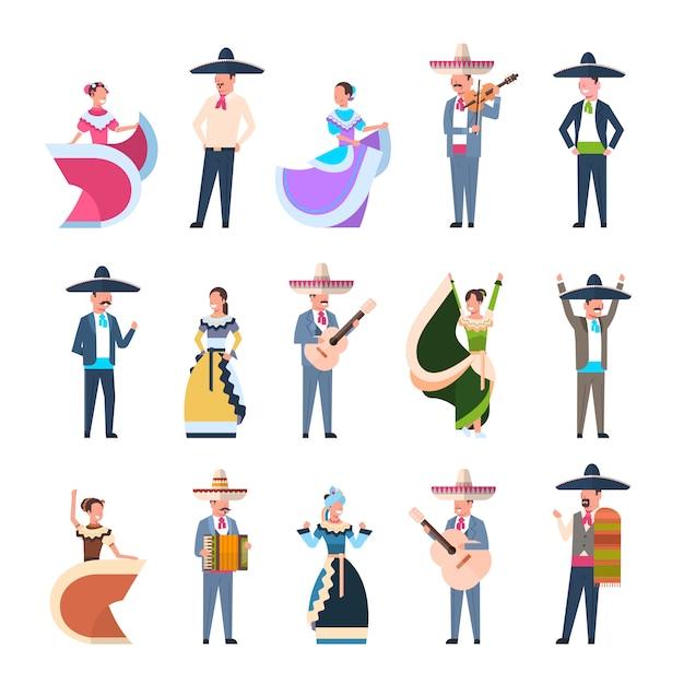 Conjunto de pessoas mexicanas em trajes tradicionais dançarinos e músicos isolados Vetor Premium