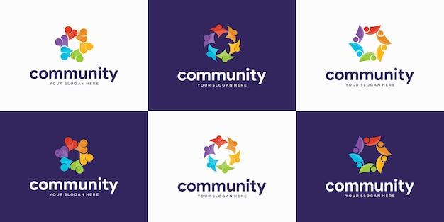 Conjunto de pessoas modernas e logotipo da comunidade Vetor Premium