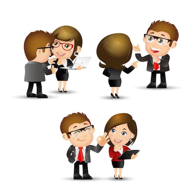 Conjunto de pessoas - negócios - discutir Vetor Premium