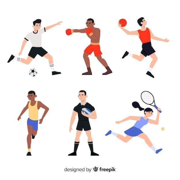 Conjunto de pessoas praticando esporte Vetor grátis
