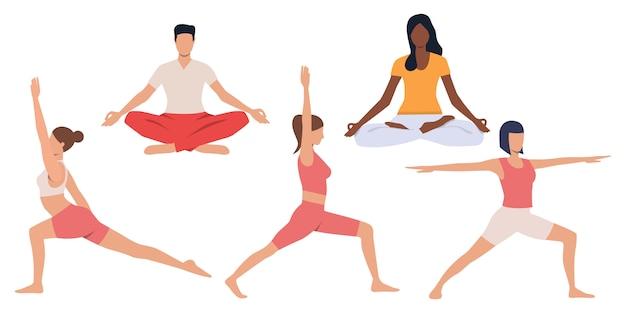 Conjunto de pessoas praticando ioga Vetor grátis
