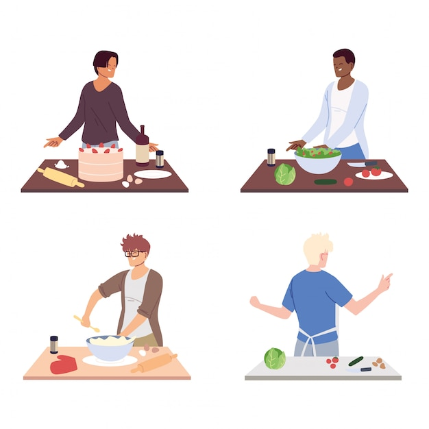 Conjunto de pessoas preparando comida em branco Vetor Premium