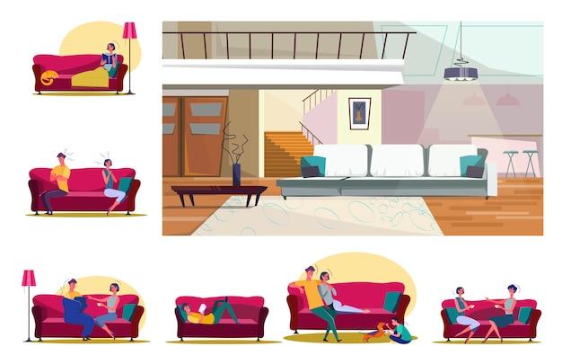Conjunto de pessoas sentadas em sofás em várias posições Vetor grátis