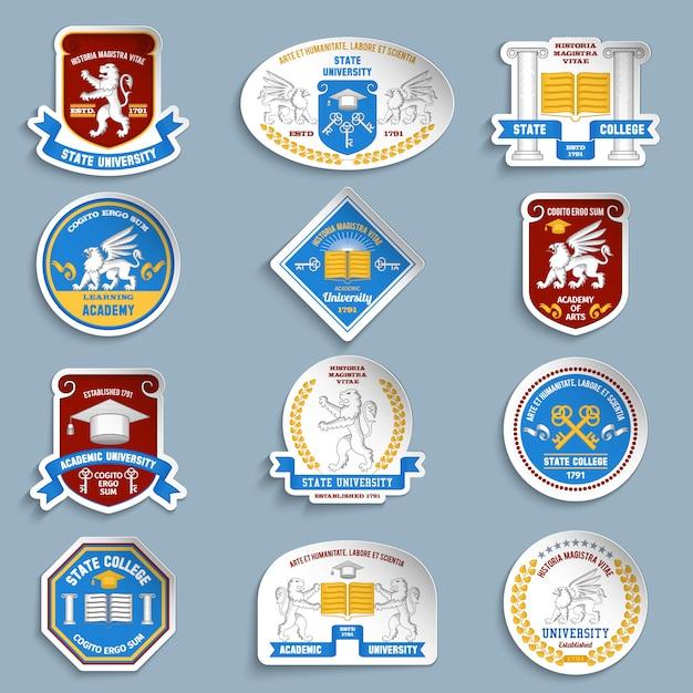 Conjunto de pictogramas de emblemas universitários Vetor grátis