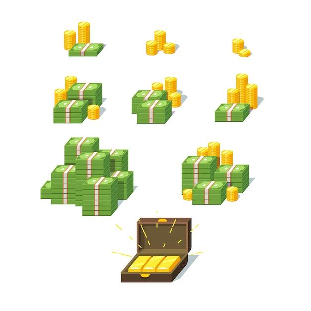 Conjunto de pilhas de dinheiro Vetor grátis