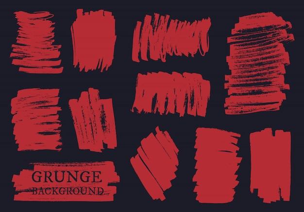 Conjunto de pinceladas de grunge Vetor Premium