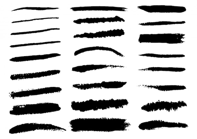 Conjunto de pinceladas de preto. mão desenhada isolado Vetor Premium