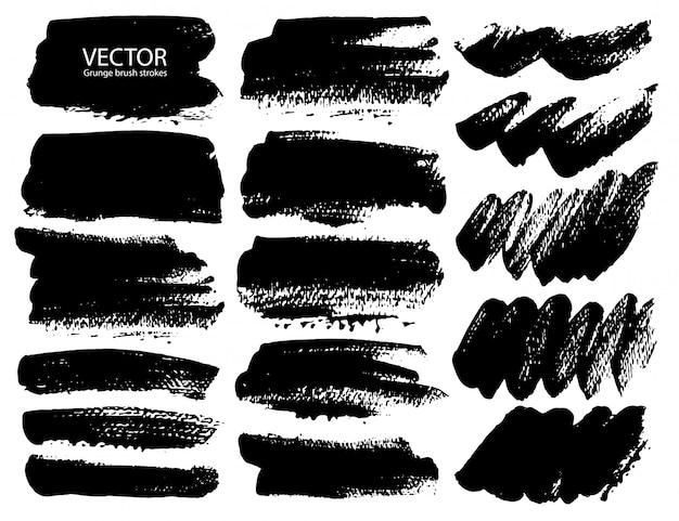 Conjunto de pinceladas Vetor Premium