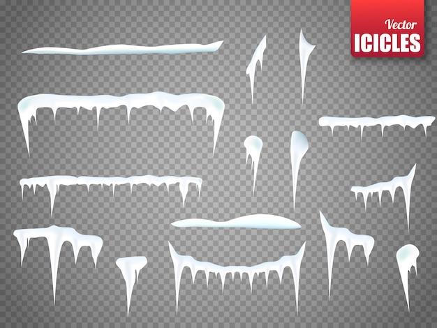 Conjunto de pingentes de neve isolado Vetor Premium