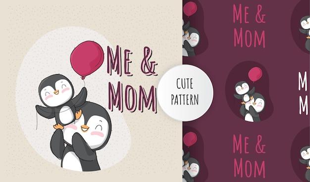 Conjunto de pinguim bebê animal fofo com padrão de mãe Vetor Premium