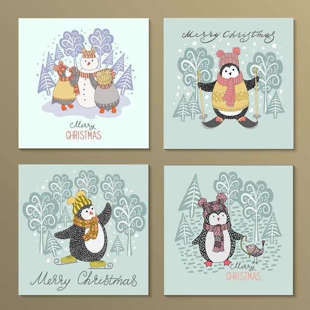 Conjunto de pinguins bonito mão desenhada Vetor Premium