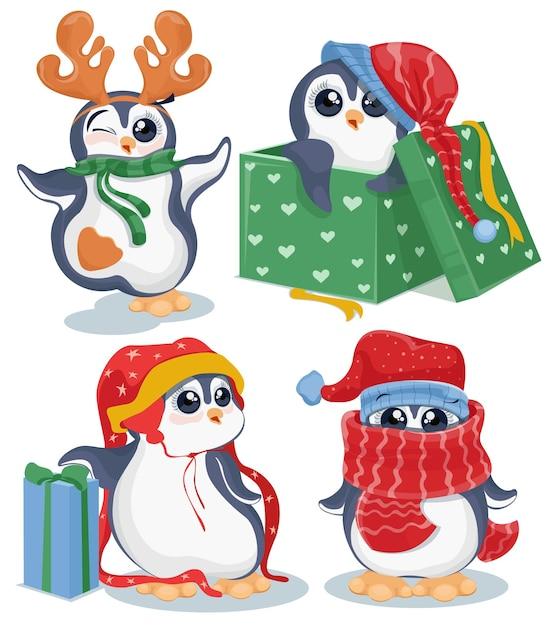 Conjunto de pinguins de natal Vetor Premium