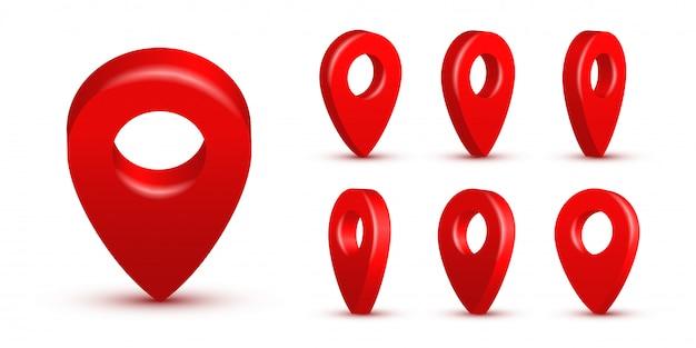 Conjunto de pinos de mapa realista vermelho brilhante, ponteiros 3d isolados. símbolos de localização em vários ângulos Vetor Premium