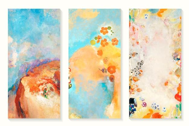 Conjunto de pinturas a óleo Vetor grátis