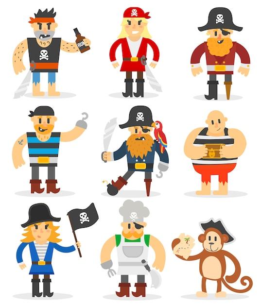 Conjunto de piratas dos desenhos animados. Vetor Premium