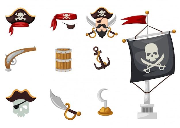 Conjunto de piratas Vetor Premium