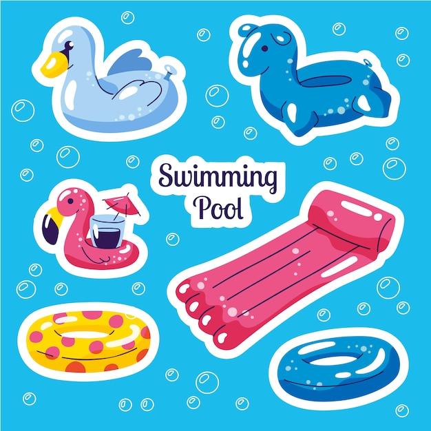 Conjunto de piscina inflável. adesivos de brinquedos de água bonito Vetor Premium