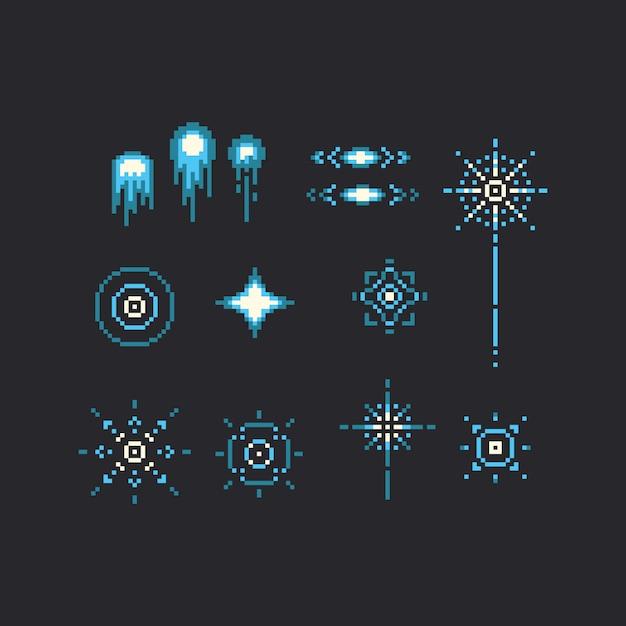 Conjunto de pixel art de ícone azul de fogo de artifício. Vetor Premium