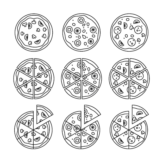 Conjunto de pizza de linha Vetor Premium