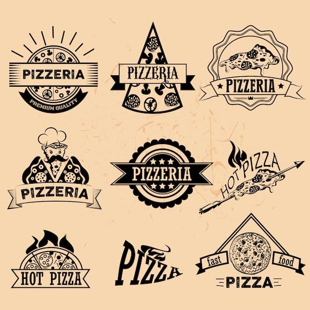 Conjunto de pizza etiquetas e emblemas em estilo vintage. logotipo, ícones, emblemas e elementos de design para o restaurante pizzaria Vetor Premium