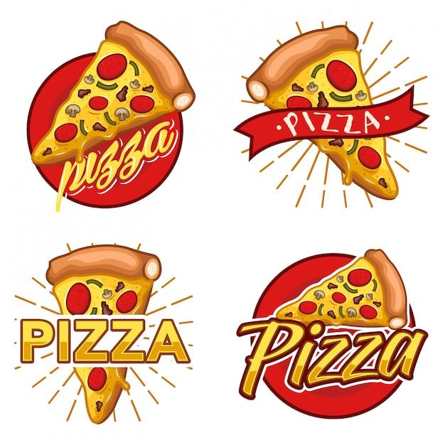 Conjunto de pizza vector estoque logotipo Vetor Premium