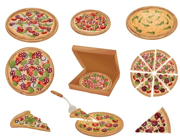 Conjunto de pizzas de diferentes formatos. inteiro, cortado, pedaço, em uma caixa. ilustração em fundo branco. Vetor Premium