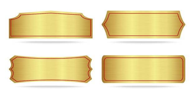Conjunto de placa de identificação de ouro metálico Vetor Premium