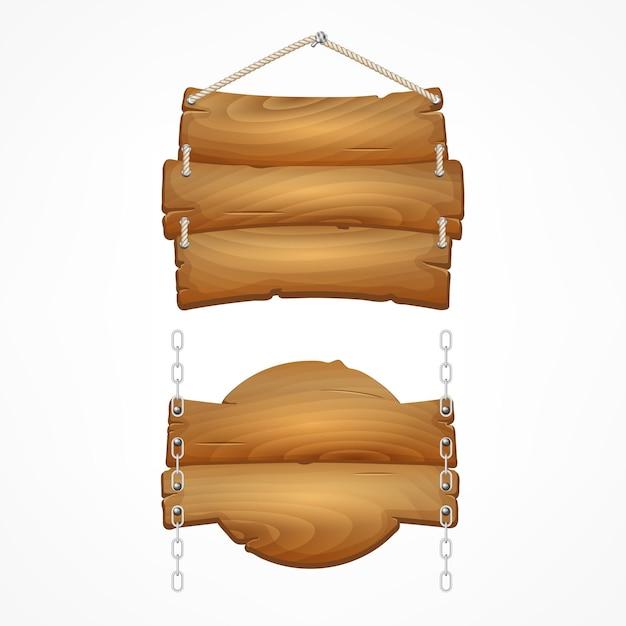 Conjunto de placas de madeira com corda. sinais de prancha de madeira dos desenhos animados. Vetor Premium