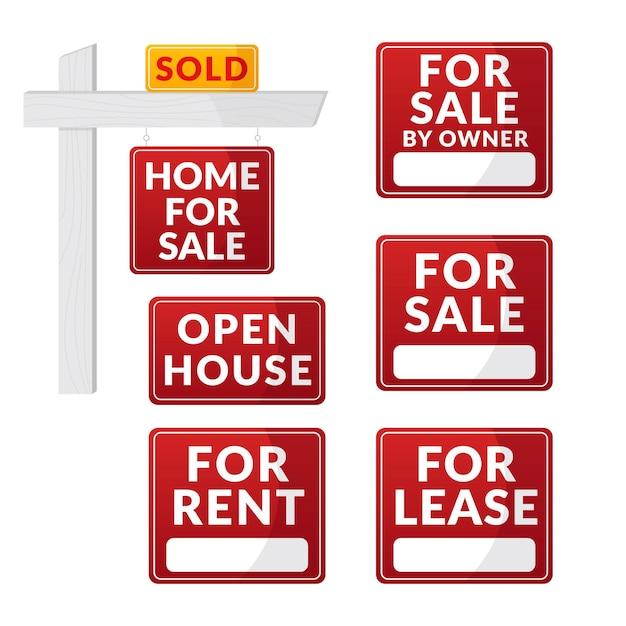 Conjunto de placas de venda imobiliária Vetor grátis