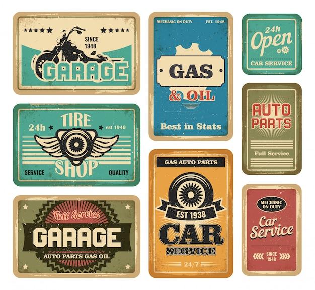 Conjunto de placas vintage para garagem Vetor grátis