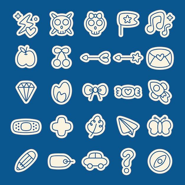 Conjunto de planejador de adesivos doodle Vetor grátis
