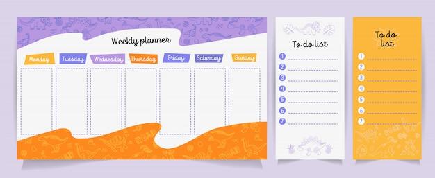 Conjunto de planejadores e fazer listas com dino fofo Vetor Premium