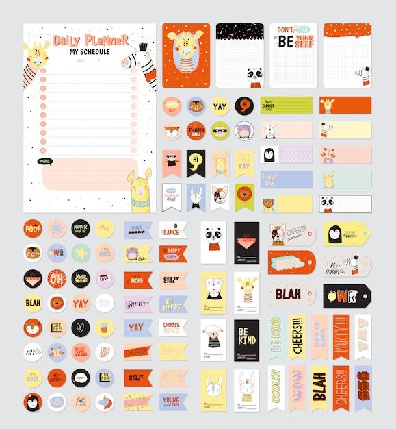 Conjunto de planejadores semanais e fazer listas com ilustrações de animais fofos e letras da moda. modelo Vetor Premium