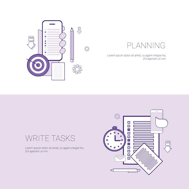 Conjunto de planejamento e escrever tarefas banners negócios conceito modelo fundo com cópia espaço Vetor Premium