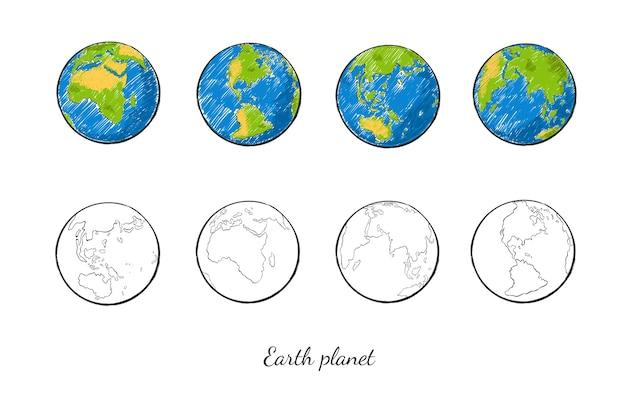 Conjunto de planeta terra desenhado à mão em diferentes visualizações coloridas e variantes de contorno Vetor Premium