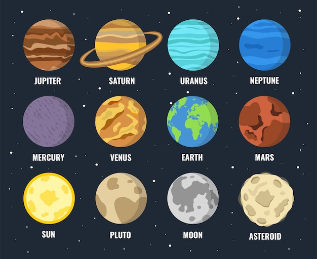 Conjunto de planetas coloridos Vetor Premium