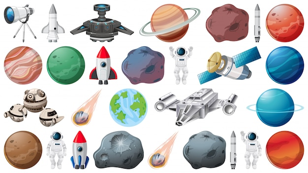 Conjunto de planetas e objetos espaciais Vetor grátis