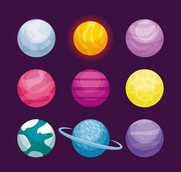 Conjunto de planetas espaço ícone do universo Vetor Premium