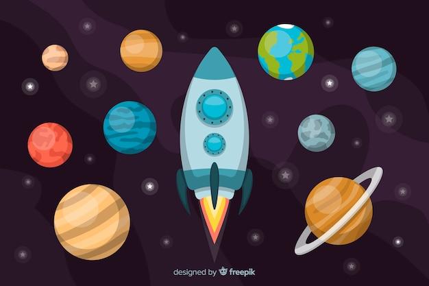 Conjunto de planetas estilo simples Vetor grátis