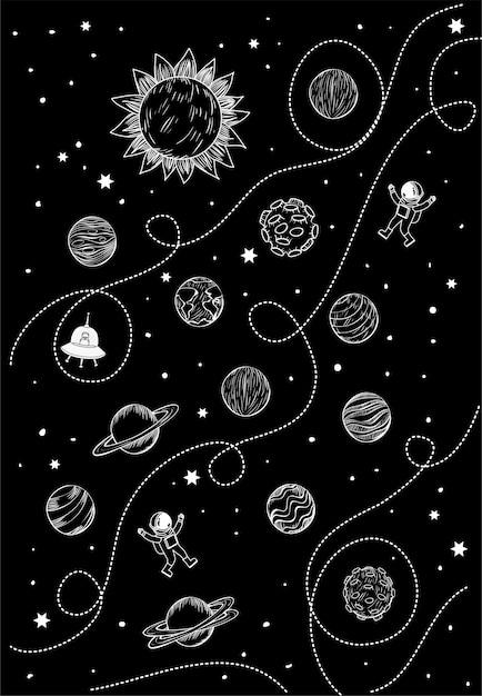 Conjunto de planetas Vetor grátis
