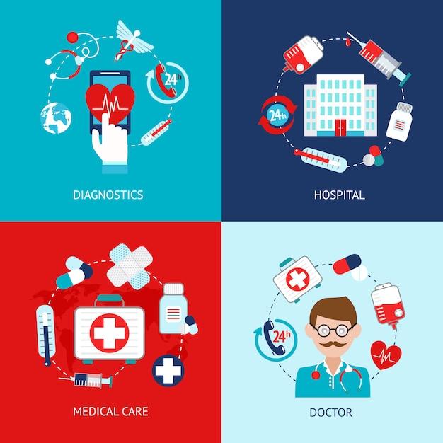 Conjunto de plano de elementos médicos Vetor Premium