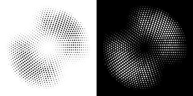 Conjunto de plano de fundo pontilhado de quadro de círculo de meio-tom. ilustração. Vetor Premium